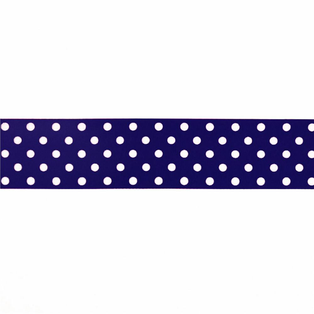 "May Arts 1 1/2"" Grosgrain Dots Ribbon Spool Navy/White"
