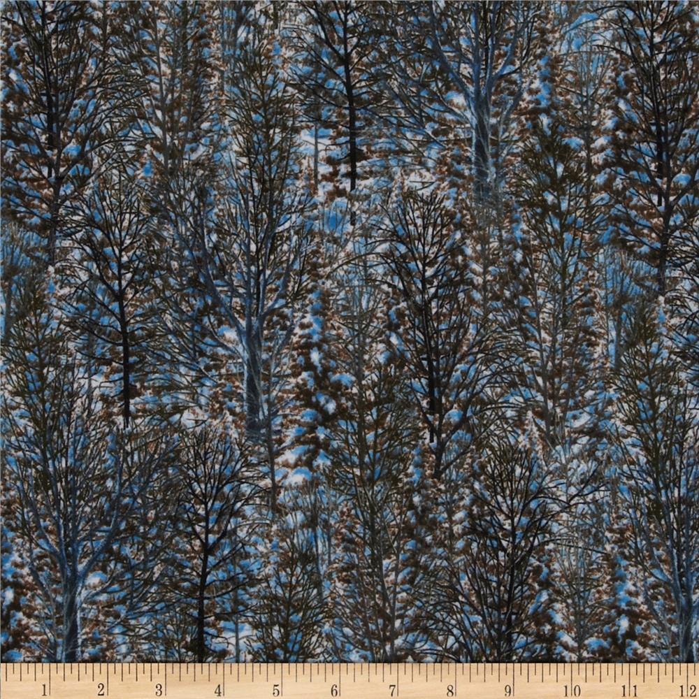 Winter Stillness Flannel Trees Allover Brown Fabric