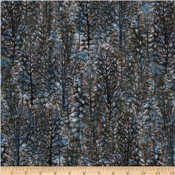 Winter Stillness Flannel Trees Allover Brown