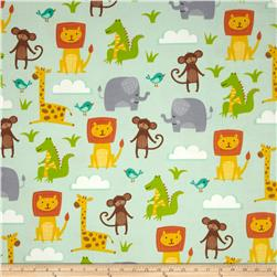 Jungle Jubilee Flannel Animals Allover Blue