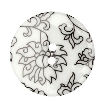 Fashion Button 1-3/8'' Damask Floral White/Black
