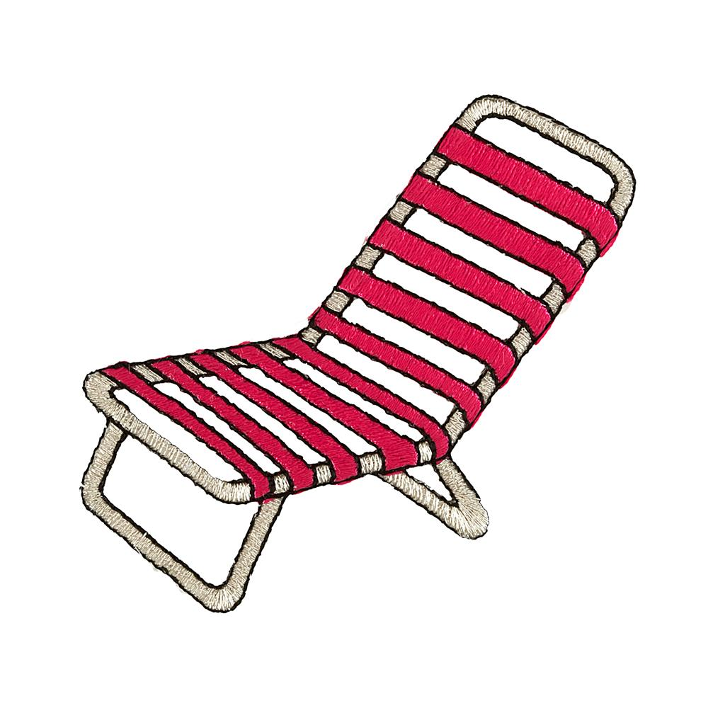 Beach Chair Applique Hot Pink