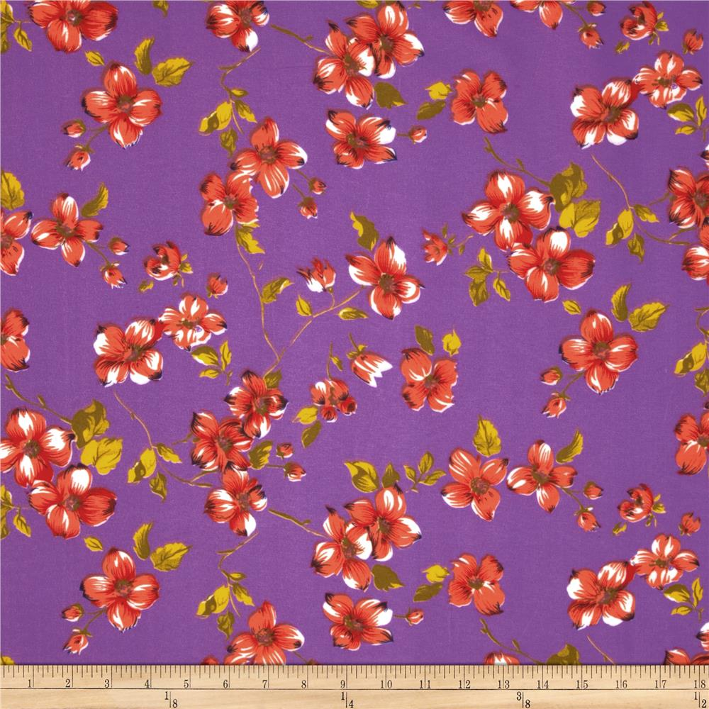 Garden Floral Broadcloth Purple