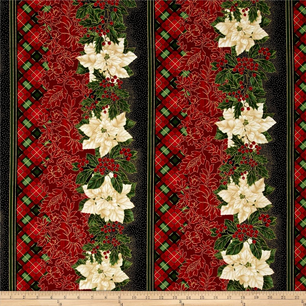 Timeless Treasures Glamourous Holiday Christmas Border Black