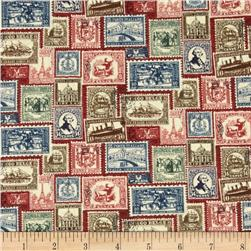 Vintage Travel Stamps Red