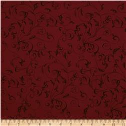 110'' Wide Quilt Backing Filigree Crimson
