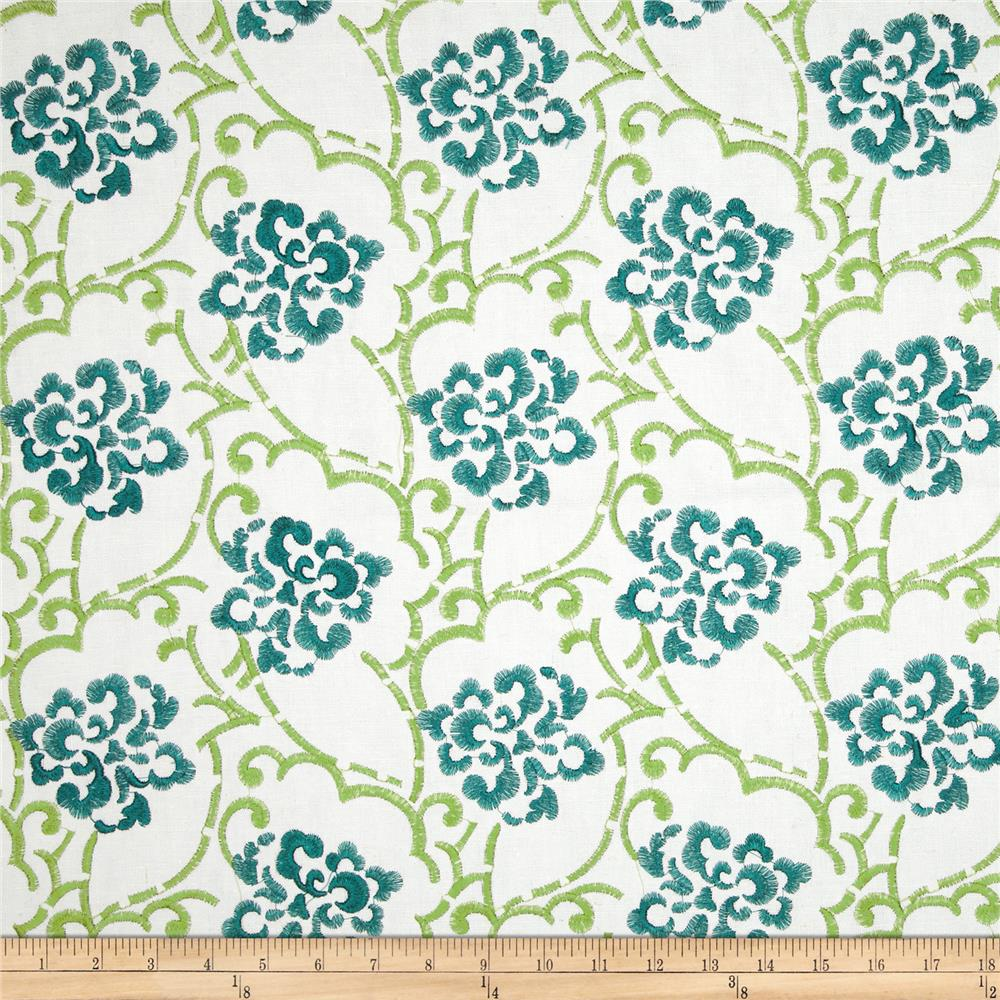 Duralee Embroidered Song Blend Aqua/Green