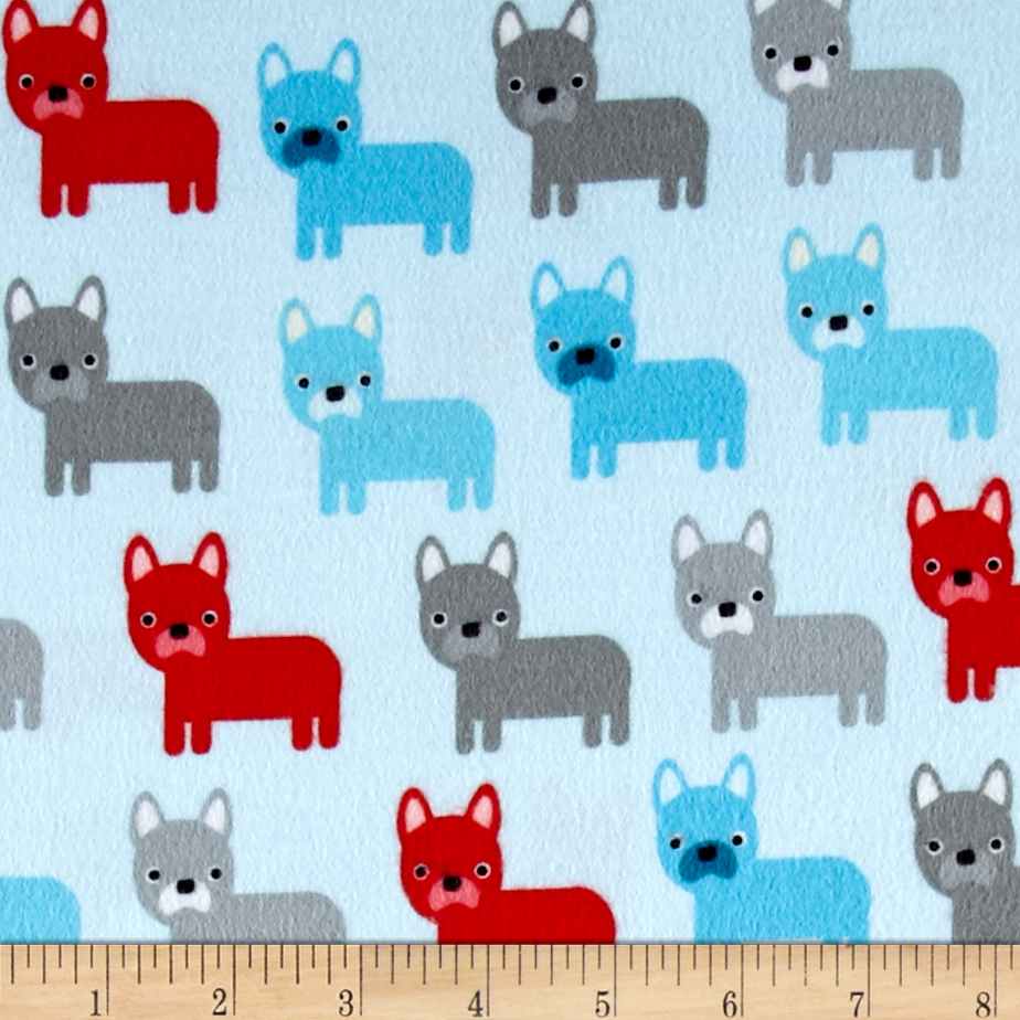 Kaufman Urban Zoologie Flannel Dogs Sky Fabric
