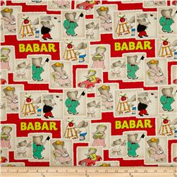 Babar Stamps Red Fabric