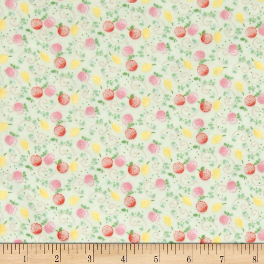 Jungle Giraffe Fruits and Me Flannel Lime Fabric by David in USA