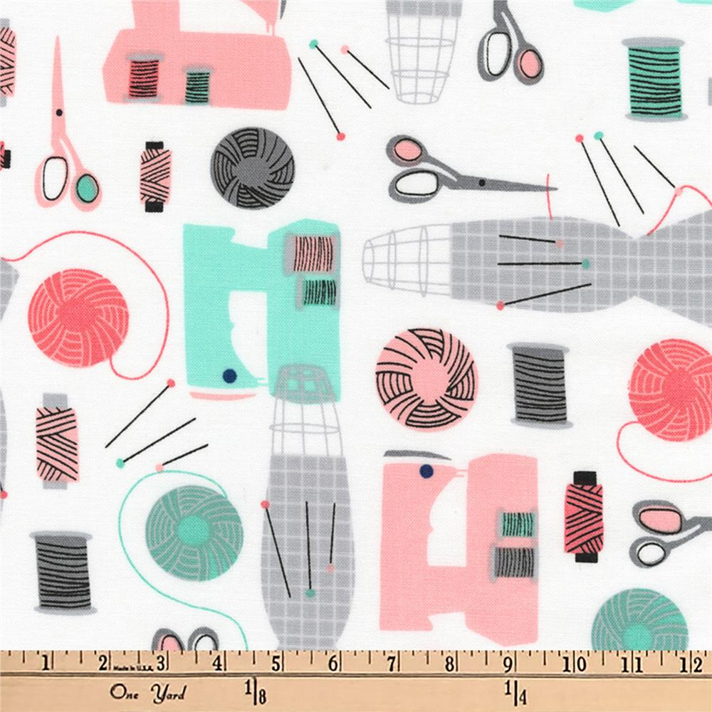 Kaufman Sew Dressed Up Collage Seafoam