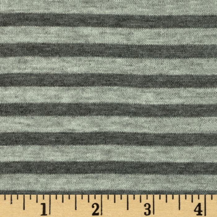 Designer Yarn Dyed Stripe Jersey Knit Heather Grey/Charcoal