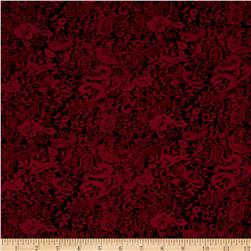 Double Knit Jacquard Paisley Red on Black