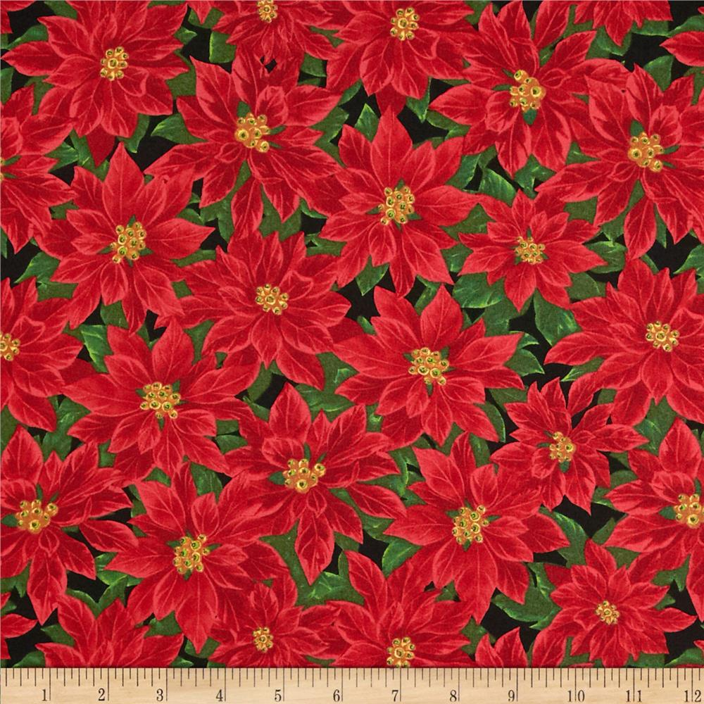 Deck The Halls Packed Poinsettias Black/Red