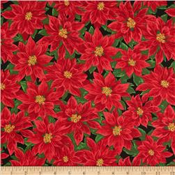 Deck The Halls Packed Poinsettias Black/Red Fabric