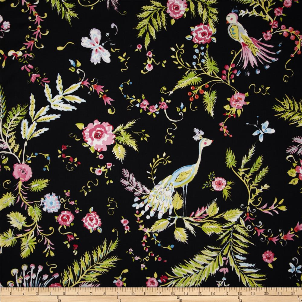 Chinoiserie Chic Birdsong Black Discount Designer Fabric