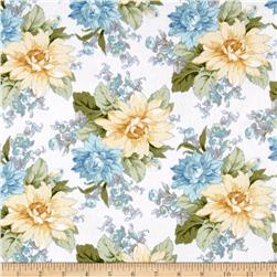 Blue Drama Fancy Flannel Large Floral Cream