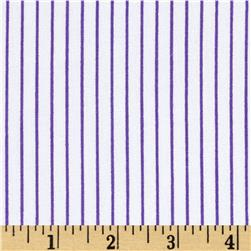 Stretch Poplin Stripes White/Purple