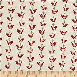 Lecien Yuletime Cozy Christmas Birdies Cream
