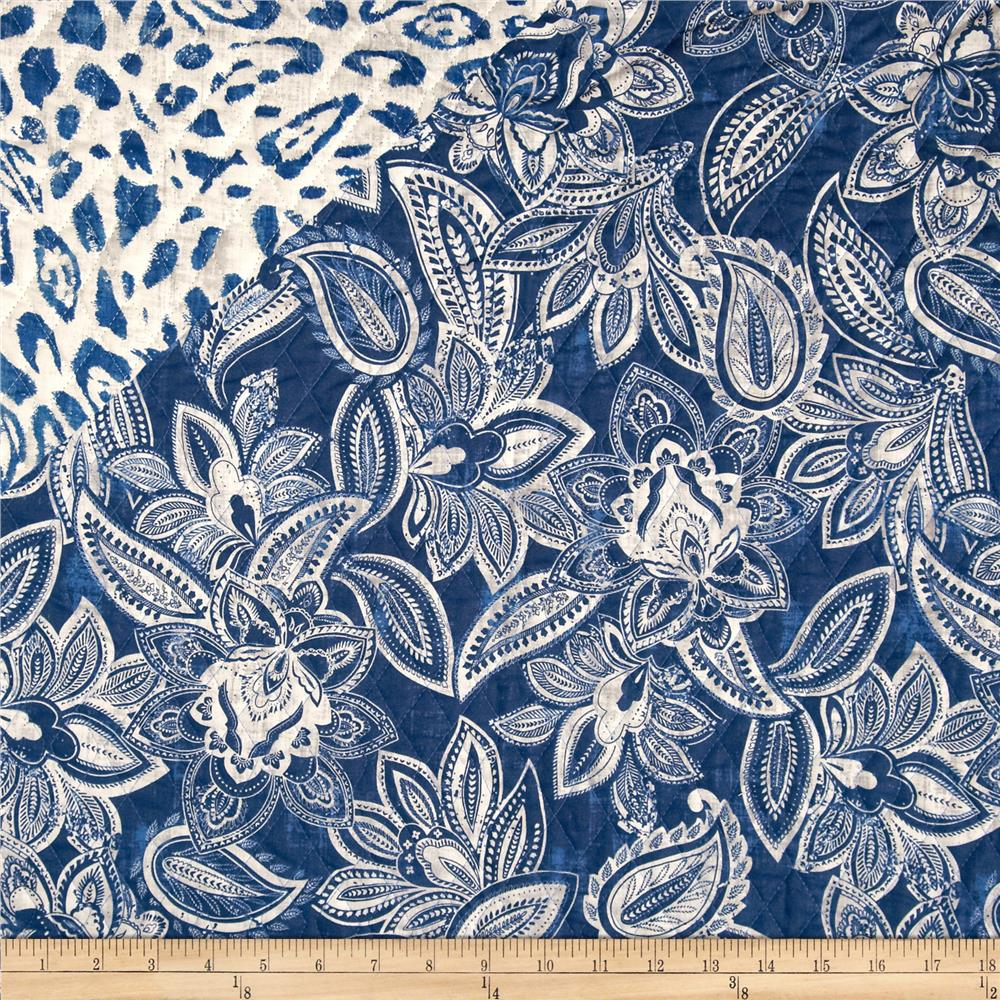 Bella Casa Double Sided Quilted Floral Denim Blue - Discount ... : double faced quilted fabric - Adamdwight.com