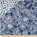 Bella Casa Double Sided Quilted Floral Denim Blue