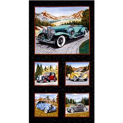 "Classic Cottons Classic Cars 24"" Panel Multi"