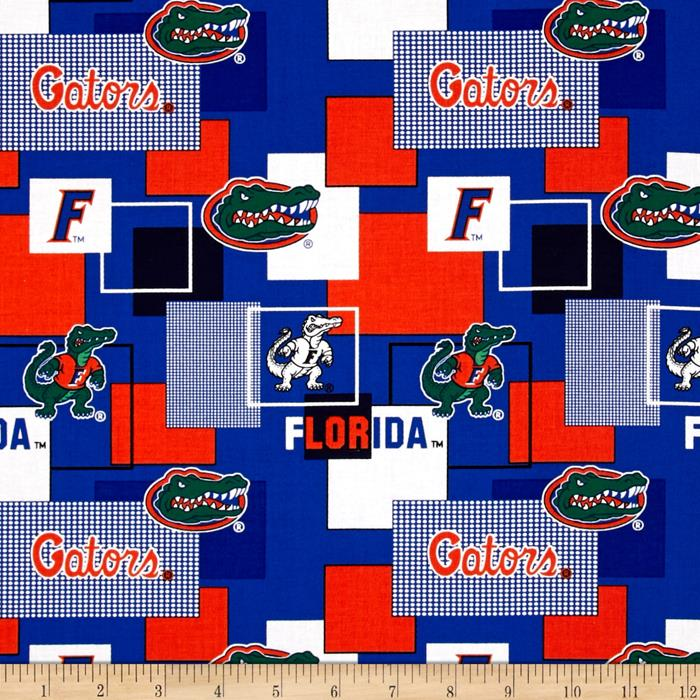 Collegiate Cotton Broadcloth University Of Florida Block Print