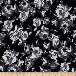 Cotton Spandex Jersey Knit Floral Black/Charcoal/White Fabric