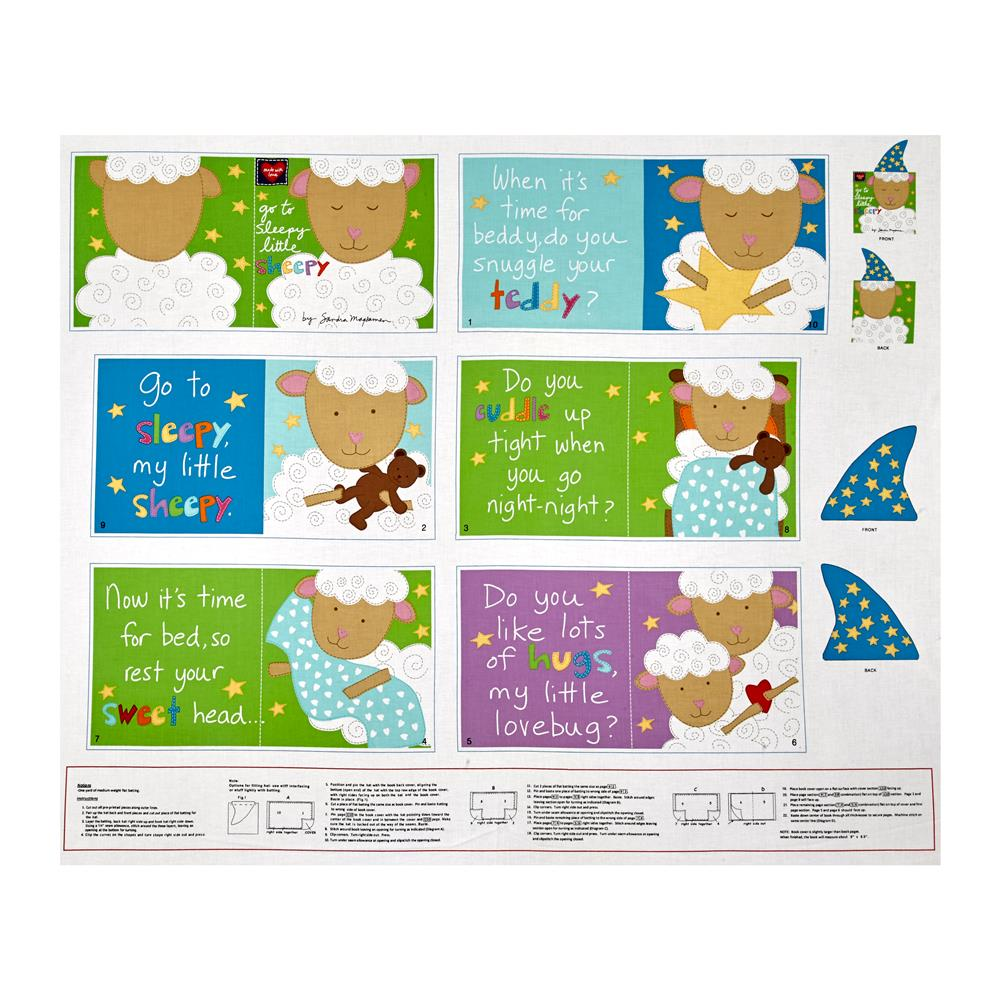 Huggable & Loveable Go To Sleepy Little Sheepy Soft Book Panel Fabric By The Yard