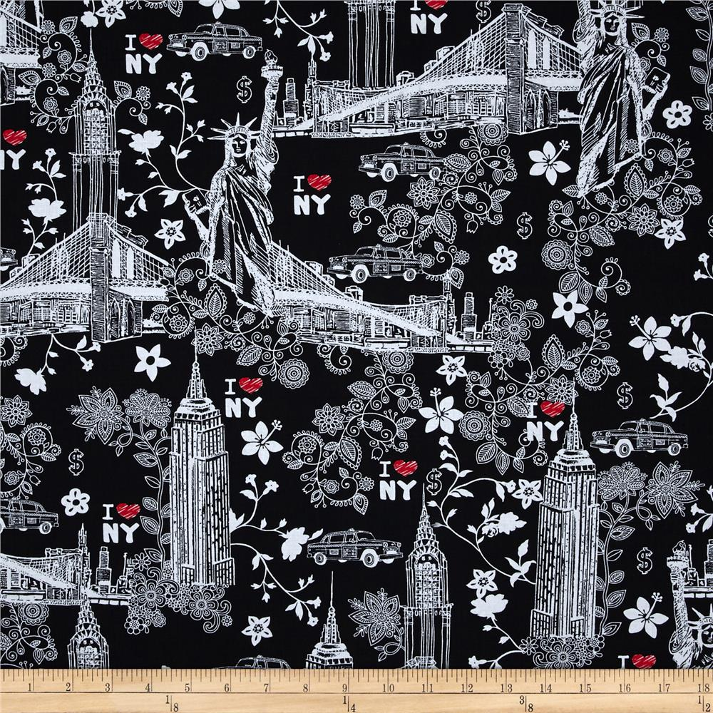 Timeless Treasures New York City Black Discount Designer Fabric