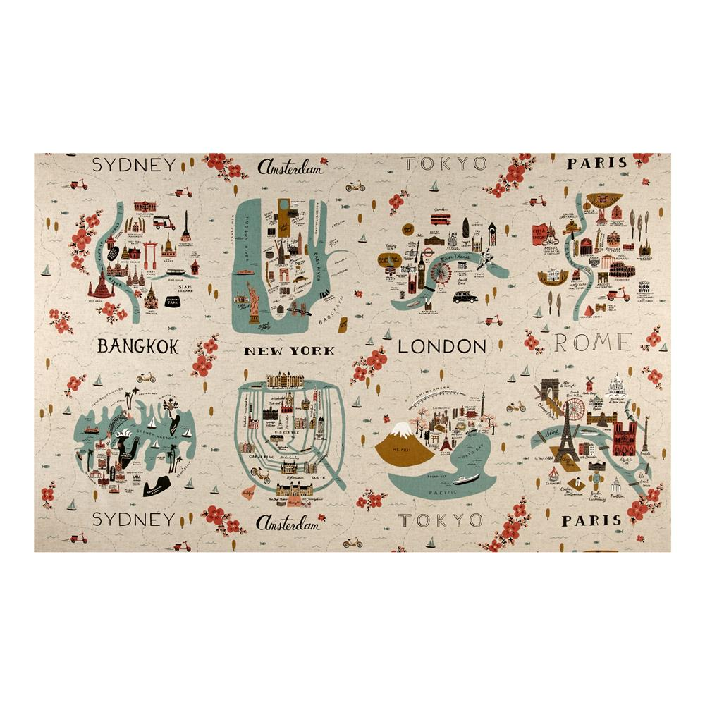 Cotton Steel Rifle Paper Co Les Fleurs Canvas City Maps Natural - Paris map fabric