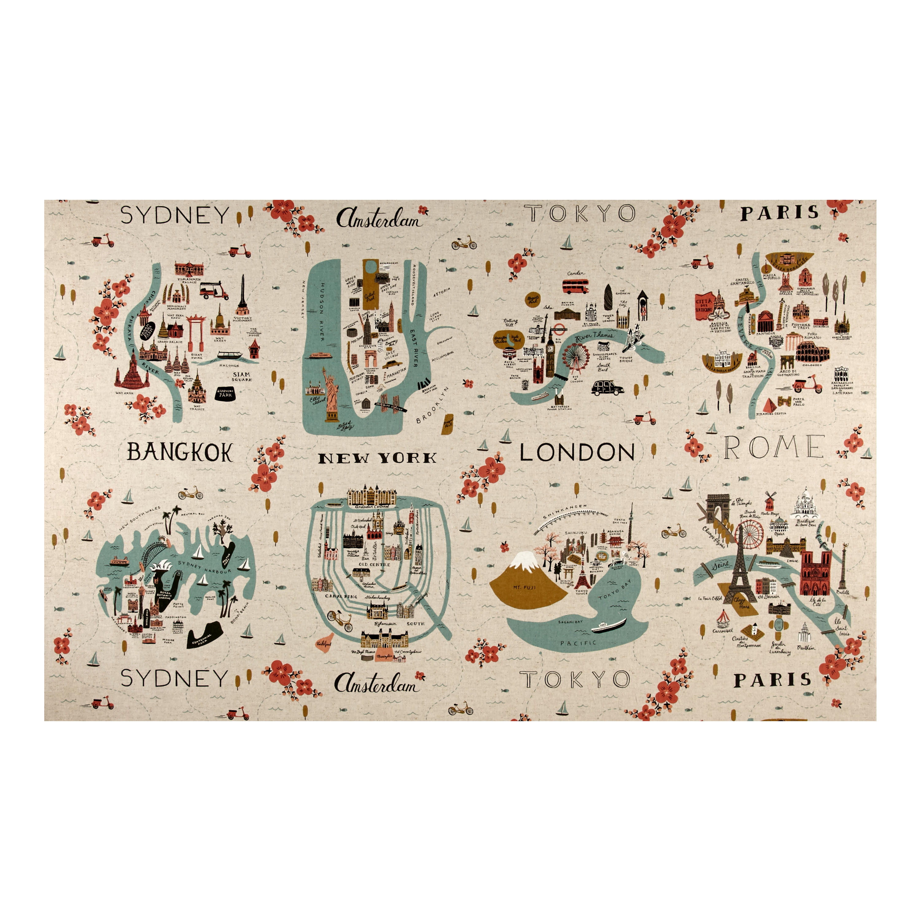 Image of Cotton + Steel Rifle Paper Co. Les Fleurs Canvas City Maps Natural Fabric