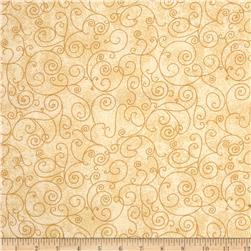 110'' Wide Flannel Quilt Back Willow Ivory Fabric