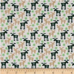 Seasons Greetings Reindeer Ecru/Green