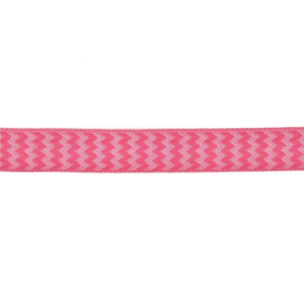 "5/8"" Chevron Stripe Wired Ribbon Hot Pink"