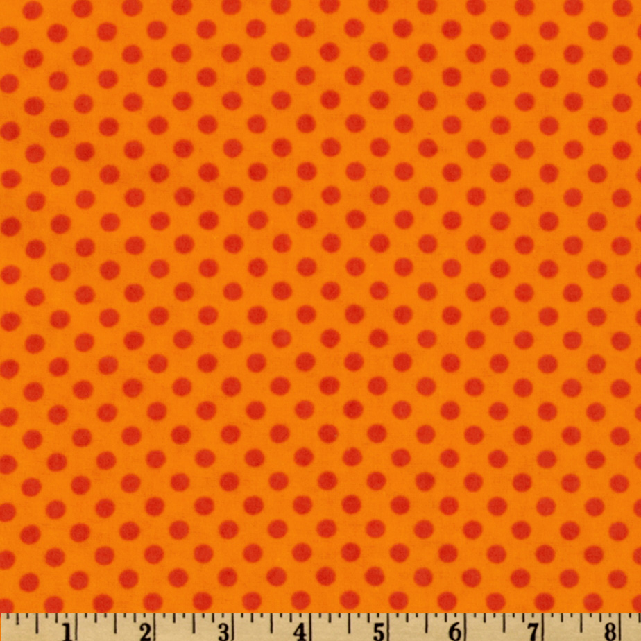 Camelot Flannel Polka Dots Orange Fabric