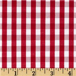 Cotton Blend Woven 1/4'' Gingham Red
