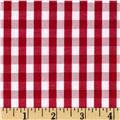 "60"" Cotton Blend Woven 1/4'' Gingham Red"