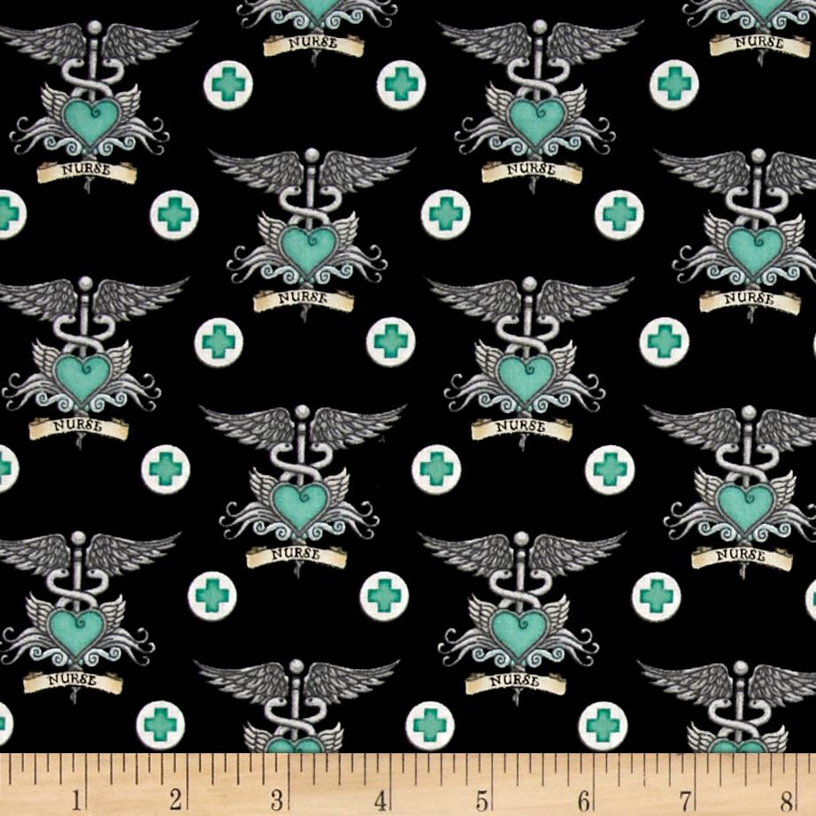 What The Doctor Ordered Nurse Tattoo Fabric Black/Aqua