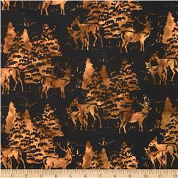 Bali Batiks Deers & Trees Antique Black Fabric
