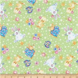 Comfy Flannel Bunnies & Ducks Green