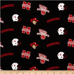 Collegiate Cotton Broadcloth University of Nebraska Black Allover