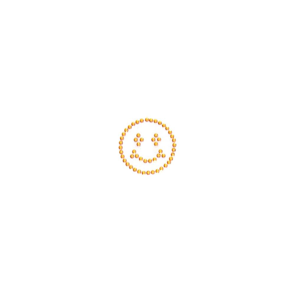 Smiley Face Rhinestud Applique Gold