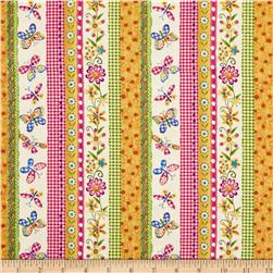 Medium Butterfly and Flower Stripe Multi
