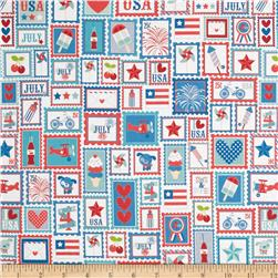 Riley Blake Star Spangled Patchwork Stripe Red