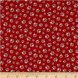 Dogs Rule Paw Print Red