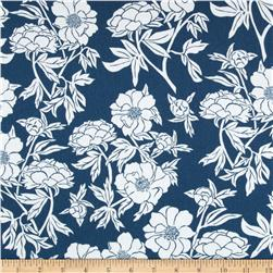 Valori Wells Novella Sateen Peoney Indigo Fabric