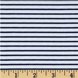 Designer Cotton Blend Shirting Stripe White/Navy