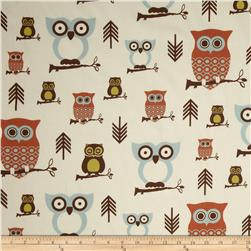 Premier Prints Sheeting Hooty Village/Natural Fabric
