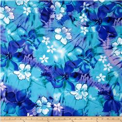 Tropical Floral Purple/Aqua Fabric